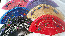 Joblot of 12 pcs Wooden Hand Painted Spanish Folding Hand Fan NEW Wholesale A