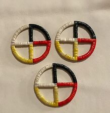 Very Awesome New Set Of Lakota Sioux Quilled Medicine Wheels Quilled On Rawhide