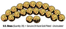 UNCIRCULATED 24K GOLD PLATED U.S. DIMES (Lot of 20)