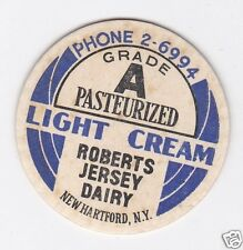 MILK BOTTLE CAP. ROBERTS JERSEY DAIRY. NEW HARTFORD, NY.