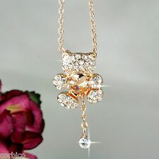 N6 18K Rose Gold Plated Teddy Bear Heart Crystal Pendant Necklace -  Gift boxed