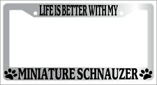 Chrome Metal License Plate Frame Life Is Better With My Miniature Schnauzer 471