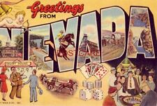1951 GREETINGS FROM NEVADA - One Sound State - keys to views on back