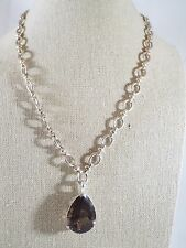 Sterling Silver Smoky Quartz Enhancer Pendant on Fancy Cable Link Chain Necklace
