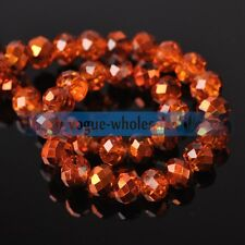 100pcs 6mm Half Plated Orange Rondelle Faceted Crystal Glass Loose Spacer Beads