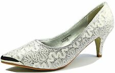 Women's Comfort Point Toe Low High Heel Pump Wedding Party Shoes Size 7 - 11