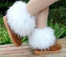 Winter Faux Fox/Raccoon Fur Lower Leg Warmer Women Warm Fluffy Boot Shoes Cover