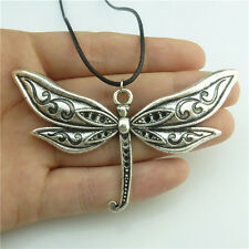 "89595 17"" Leather Chain Alloy Silver Insect Animal Dragonfly Pendant Necklace"