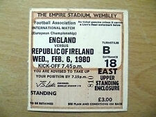 Tickets/ Stubs- 1980 ENGLAND v REPUBLIC OF IRELAND, 6 Feb(European Championship)