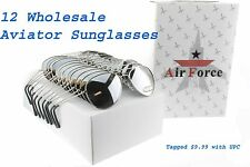 Wholesale Aviator Sunglasses Mirror Silver Pilot Tagged UPC 12 lot Mens Womens