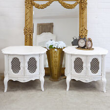 GORG Shabby Cottage Chic Pair Of Round Mesh Side Table French Vintage White