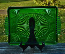 "Vintage Avon Emerald Tray Deco Style Green Glass Vanity Dresser Jewelry 8"" X 10"""