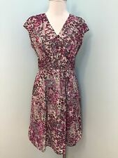 Banana Republic 2 XS Gray Purple Fit Flare Dress Excellent Career Cocktail Dot