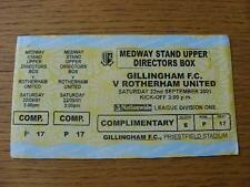 22/09/2001 Ticket: Gillingham v Rotherham United (Yellow/Sky Ticket, 3 Parts Com