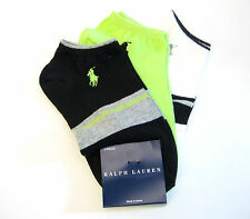 3 Pr Ralph Lauren Ladies Socks Sport Golf Stripe / Solid Black White Lime NEW