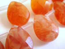 "10x14mm Faceted Briolette Teardrop Shape Carnelian 7""-8"" Inches Stones Beads @^"