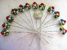 12 VINTAGE MERCURY BEAD  FLOWER SHAPES=COLORS =CHRISTMAS DECORATIONS=CRAFTS