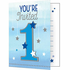 8 Twinkle Little Star Boy's 1st Birthday Party Invitations Invites & Envelopes