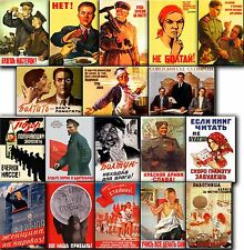 Souvenir FRIDGE MAGNETS - Lot of 18 Soviet propaganda posters (1930-1949)