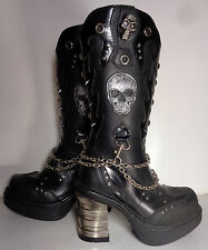 NEW ROCK Chain & Skull Platform Black Leather Heel Boots Women's Size 6.5