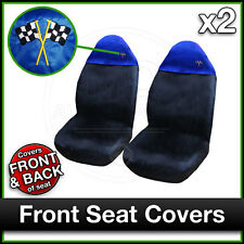 BLACK / BLUE Car Seat Covers UNIVERSAL Protectors PAIR x 2 Water Proof FRONT