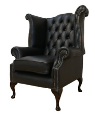 Chesterfield Armchair Queen Anne High Back Fireside Wing Chair Black Leather