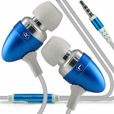 Twin Pack - Baby Blue Handsfree Earphones With Mic For Apple Iphone 4S