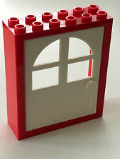 *USED* LEGO RED FREESTYLE DOOR FRAME 2x6x6 with WHITE DOOR