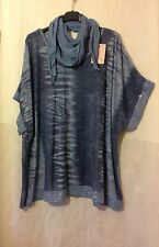 New PLUS Italian Lagenlook Oversized PRINTED SHORT SLEEVES Sequins Top SCARF 60""