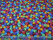 3 Yards Quilt Cotton Fabric - Timeless Treasures Rainbow Ladybugs Packed Black
