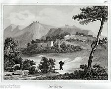 Repubblica di San Marino: Panorama.Audot.Acciaio.Stampa Antica.Passepartout.1836