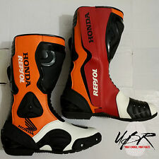 UBR Leather Honda Repsol Motorbike MotoGP Racing Men Boots(All Sizes, see chart)