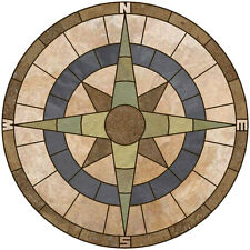 "36"" SLATE, LIMESTONE, & TRAVERTINE TILE ADMIRALS COMPASS ROSE MOSAIC MEDALLION"