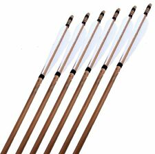 "New 31"" Archery Craftsmans Handmade Bamboo Arrows White Turkey Feathers Bow x6"