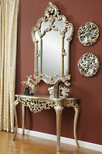 Mirror Console French Dressing Table Hall Table Black Silver Wall Antique Style