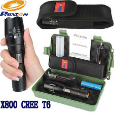 5000LM Zoomable XM-L T6 LED Tactical Flashlight Torch+18650 Battery+Charger+Case