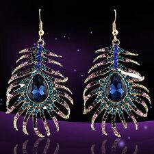 Women's Rhinestone Peacock Feather Shape Statement Hook Dangle Earrings Exotic