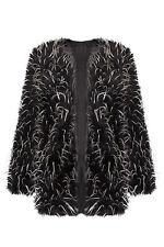 Ladies Faux Fur Coat Casual Black Mongolian Vintage Trench Jacket Outwear 8-14