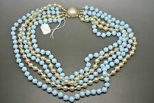 Vintage French 50s Louis Rousselet Pearl blue Glass Beaded Necklace