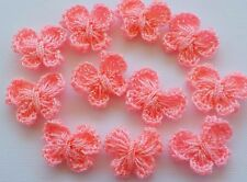 100! Sweet Crochet Wool Butterflies - Lovely Coral Pink Butterfly Embellishments