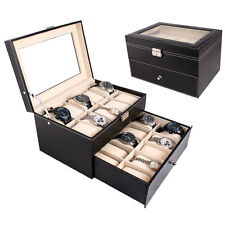 20 Slot Watch Box Leather Display Case Organizer Top Glass Jewelry Storage Black