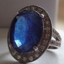 BIG! NATURAL BLUE SAPPHIRE 22.00 CT RING 925 SILVER,Vintage Estate,SIZE 7.5