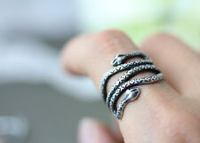 Snake Ring Antique Silver Ring Double Headed Animal Adjustable Ring AR-36