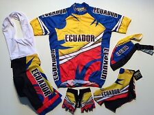 New size 3XL - ECUADOR Cycling Flag Bike Set Jersey Bib Shorts Gloves Skull Cap