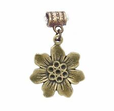 Blooming Flower Honey Comb Bronze Tone Dangle Charm for European Bead Bracelets