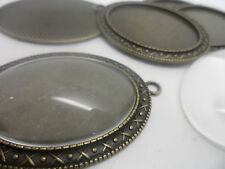 NEW 5 LARGE Antique Bronze Pendant Making Kit 5 Bezels,5 cabochons 40x30mm tray