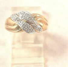 .25CT Diamond Love Knot Vintage Estate White Yellow 3.5Gr Gold Ring Size 7.75