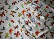 "Silk CHARMEUSE Fabric BUTTERFLIES fat 1/4 18""x22"" remnant"