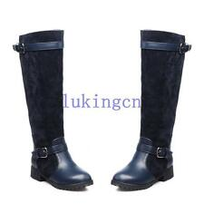 Ladies chunky Low Heel Shoes Buckle Belt Knee High Wide Calf Boots Riding Bootie