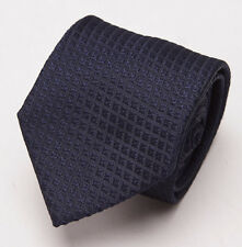 NWT $225 BATTISTI NAPOLI Midnight Blue Woven Diamond Pattern Silk Tie Handmade
